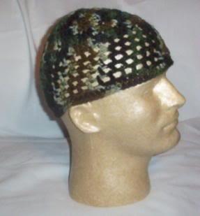 Hand Crochet ~ Men's Skull Cap Beanie Kufi Camo