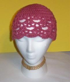 Hand Crochet ~ Ladies Skull Cap ~ Dark Rose