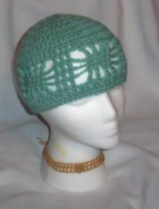 Hand Crochet ~ Ladies Open Cloche Hat - Sage