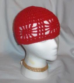 Hand Crochet ~ Ladies Open Cloche Hat - Red