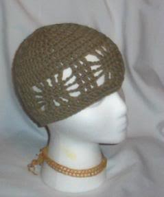 Hand Crochet ~ Ladies Open Cloche Hat - Taupe
