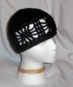 Hand Crochet ~ Ladies Open Cloche Hat - Black
