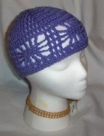 Hand Crochet ~ Ladies Open Cloche Hat - Violet