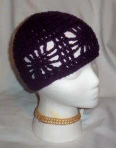 Hand Crochet ~ Ladies Open Cloche Hat - Grape