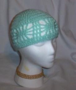 Hand Crochet ~ Ladies Open Cloche Hat - Mint
