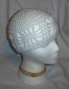 Hand Crochet ~ Ladies Open Cloche Hat - White