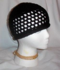 Hand Crochet ~ Ladies Skull Cap ~ Black - Kufi