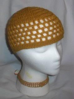 Hand Crochet ~ Ladies Skull Cap ~ Old Gold - Kufi