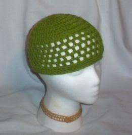 Hand Crochet ~ Ladies Skull Cap ~ Spring Green - Kufi