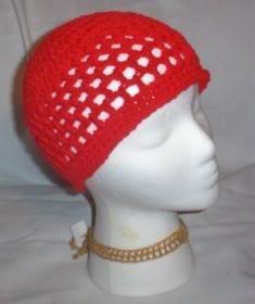 Hand Crochet ~ Ladies Skull Cap ~Red - Kufi
