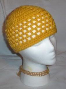 Hand Crochet ~ Ladies Skull Cap ~Yellow - Kufi