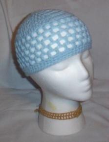 Hand Crochet ~ Ladies Skull Cap ~ Pale Blue - Kufi
