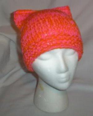 Hand Knit Cat Ears Hat Meooow - Brit Orange & Hot Pink