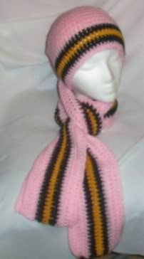 Hand Crochet ~ Steeler Ladies Pink Beanie and Scarf Set