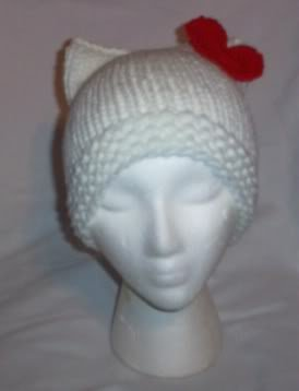 Hand Knit Cat Ears Hat Meooow - Hello Kitty White/Red