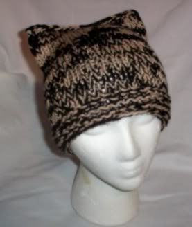 Hand Knit Cat Ears Hat Meooow - Black and Tan