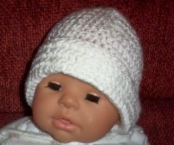 Hand Crochet Baby White Beanie Hat Newborn - 6 months