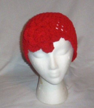 Hand Crochet Red Mesh Beanie with Red Flower