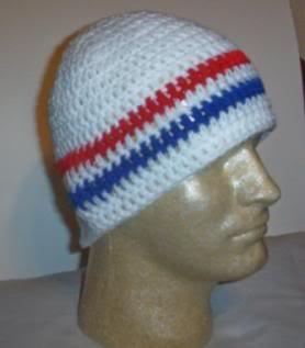 Hand Crochet ~ Men's Skull Cap Beanie Hat Patrotic B USA