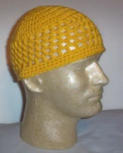 Hand Crochet ~ Men's Skull Cap Beanie Kufi Yellow