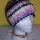 Hand Knit Ladies Ski Hat Pink Purple White and Black