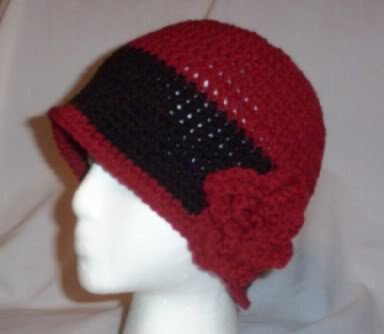 Hand Crochet ~ Ladies Rose Cloche ~ Claret and Black