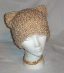 Hand Knit Cat Ears Hat Meooow - Cafe Au Lait