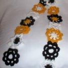 Hand Crochet ~ Steeler Ladies Flowered Scarf 4 X 54 Inc