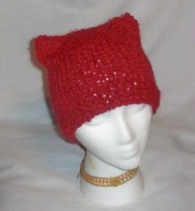 Hand Knit Cat Ears Hat Meooow - Dark Red