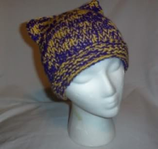 Hand Knit Cat Ears Hat Meooow - Purple and Yellow
