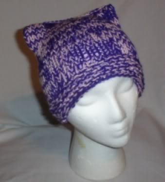 Hand Knit Cat Ears Hat Meooow - Purple and Pink