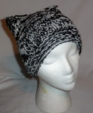 Hand Knit Cat Ears Hat Meooow - Black and White