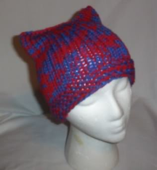 Hand Knit Cat Ears Hat Meooow - Red and Cobalt Blue