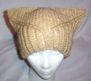 Hand Knit Cat Ears Hat Meow - Sassy Camel Catitude