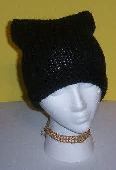 Hand Knit Cat Ears Hat Meooow - Black