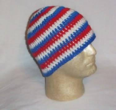 Hand Crochet ~ Men's Skull Cap Beanie Hat Patrotic C USA