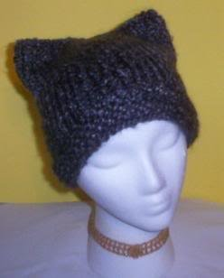 Hand Knit Cat Ears Hat Meooow - Edwardian Homespun