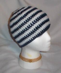 Hand Crochet ~ Sweet Beanie ~ Goth Drk Blue/White Emo