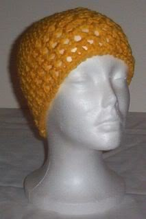 Hand Crochet ~ Ladiies Skull Cap ~ Lacy Yellow Style 2