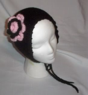 Hand Knit Flowered Coif Ponytail Hat- Black and Pink