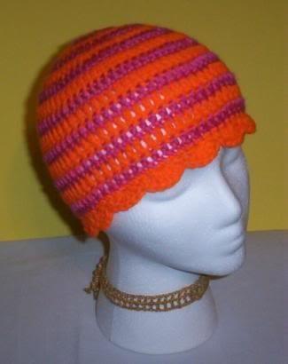 Hand Crochet ~ Ladies Skull Cap ~ Hot Pink Brit Orange