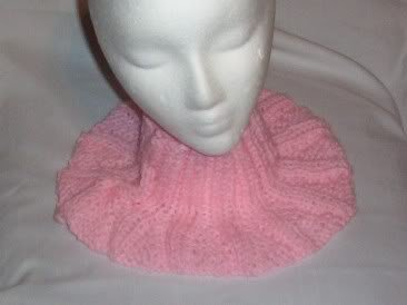 Hand Knit Ladies Pale Pink Buttoned Neckwarmer