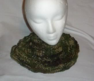Hand Knit Ladies Camoflauge Buttoned Neckwarmer
