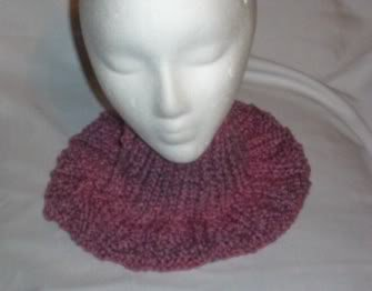 Hand Knit Ladies Misty Plum Buttoned Neckwarmer