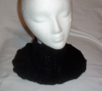 Hand Knit Ladies Black Buttoned Neckwarmer