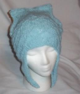 Hand Knit Cat Ears Hat Meooow - Blue Kitty Kat Earflaps