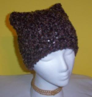 Hand Knit Cat Ears Hat Meooow - Earth tones - Boucle