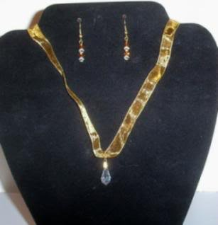 Organza Ribbon and Crystal Necklace and Earrings