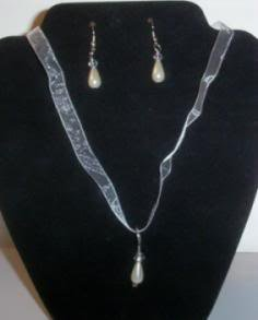 Organza Ribbon and Crystal/Pearl Necklace and Earrings