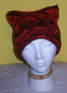 Hand Knit Kitty Cat Ears Hat Meooow - Red and Black